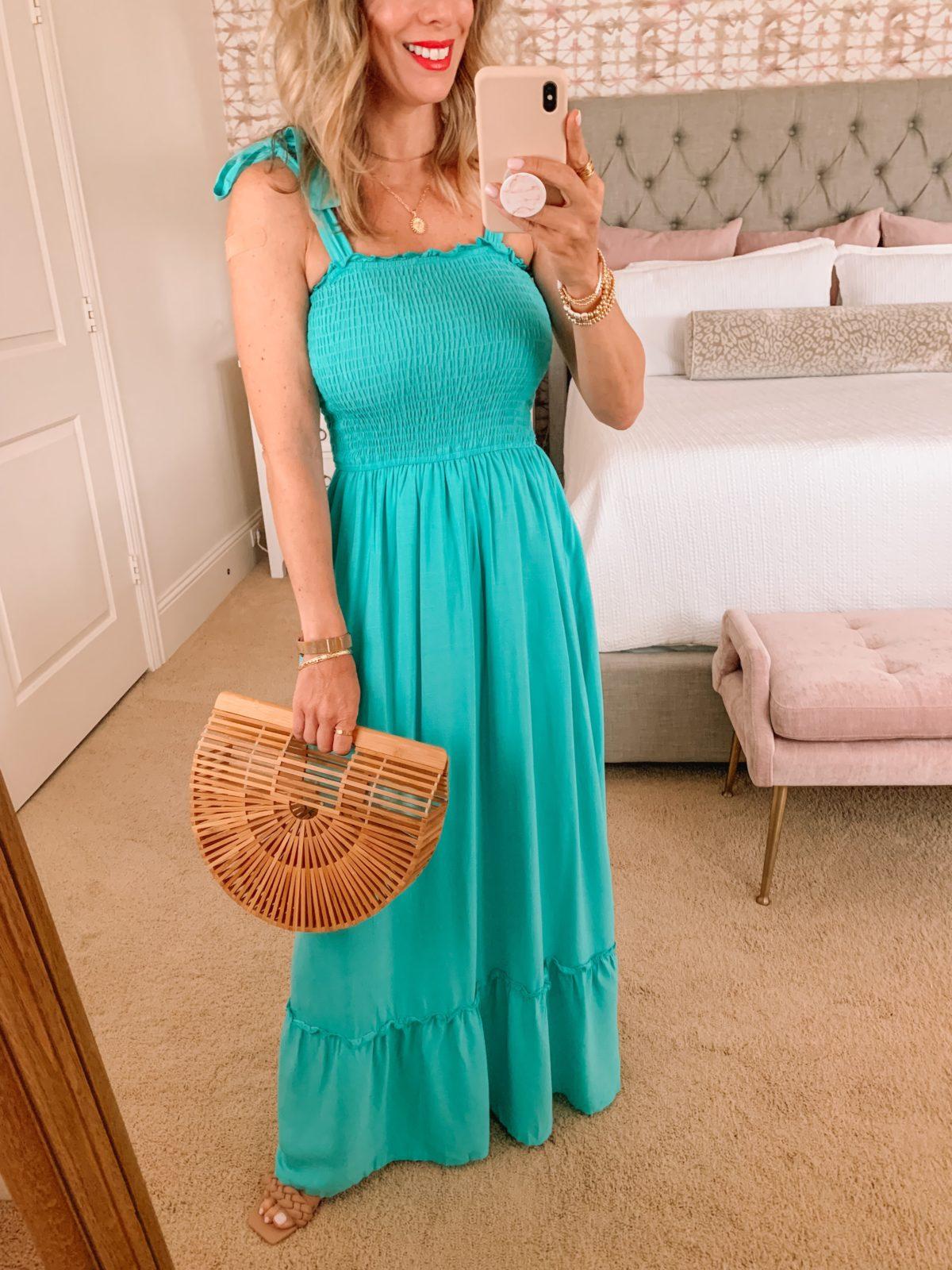 Amazon Fashion Faves, Teal Maxi Dress, Clutch