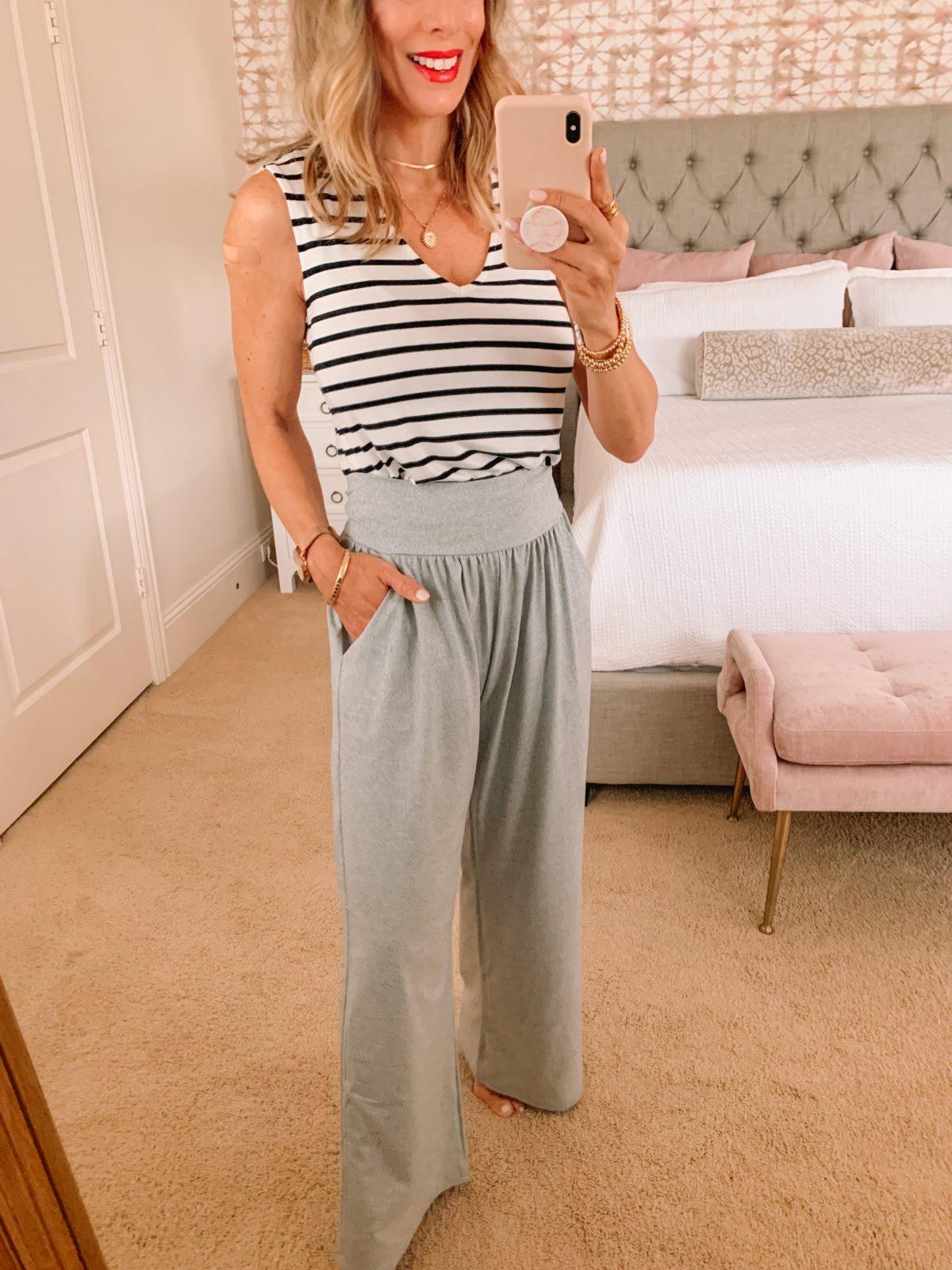 Amazon Fashion Faves, Stripe Tank, Wide Leg Pants
