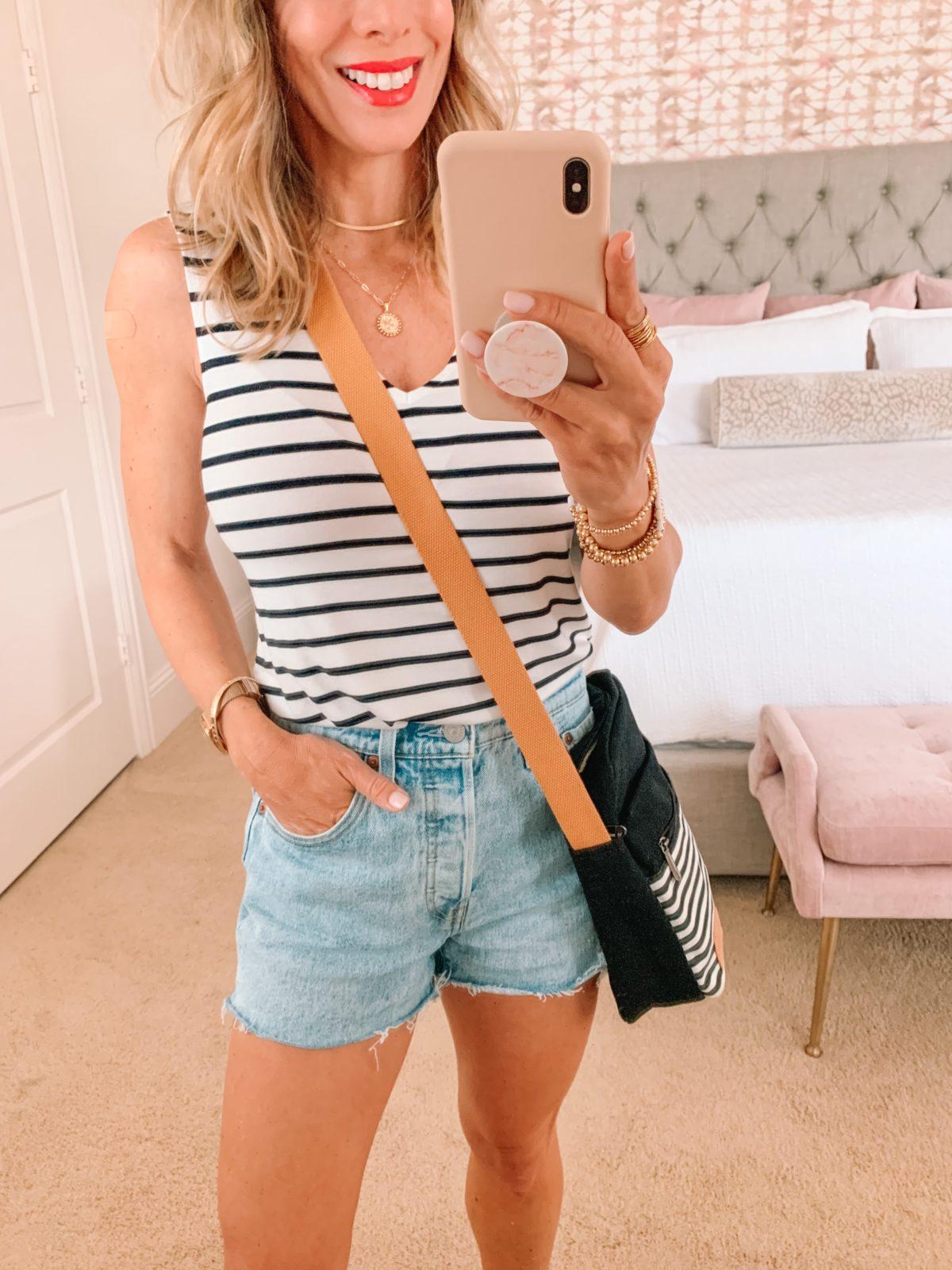 Amazon Fashion Faves, Stripe Tank, Shorts, Sandals, Crossbody