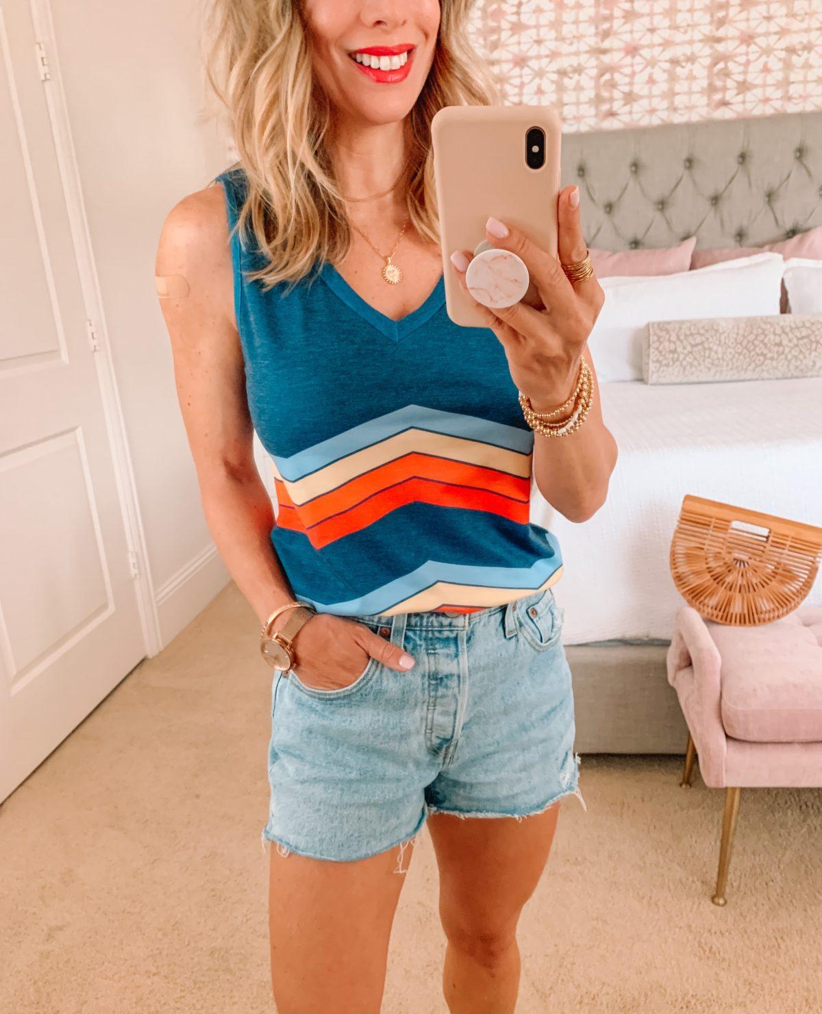 Amazon Fashion Finds, Rainbow Stripe Tank, Jean Shorts, Sneakers, Bamboo Clutch