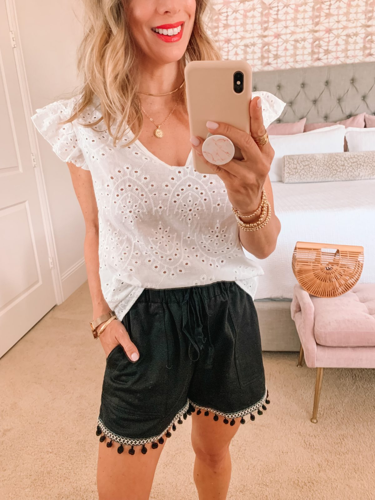 Amazon Fashion Faves, Eyelet Top and Tassel Shorts, Sandals, Bamboo Clutch