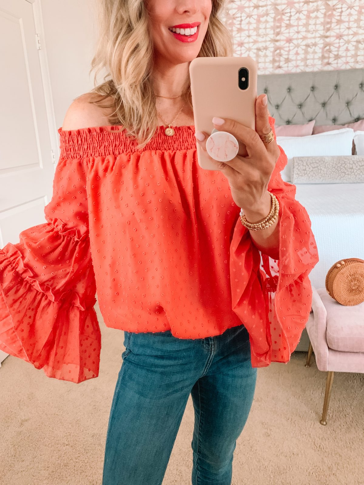 Amazon Fashion Faves, Clip Dot Off the Shoulder Top and Jeans, Sandals