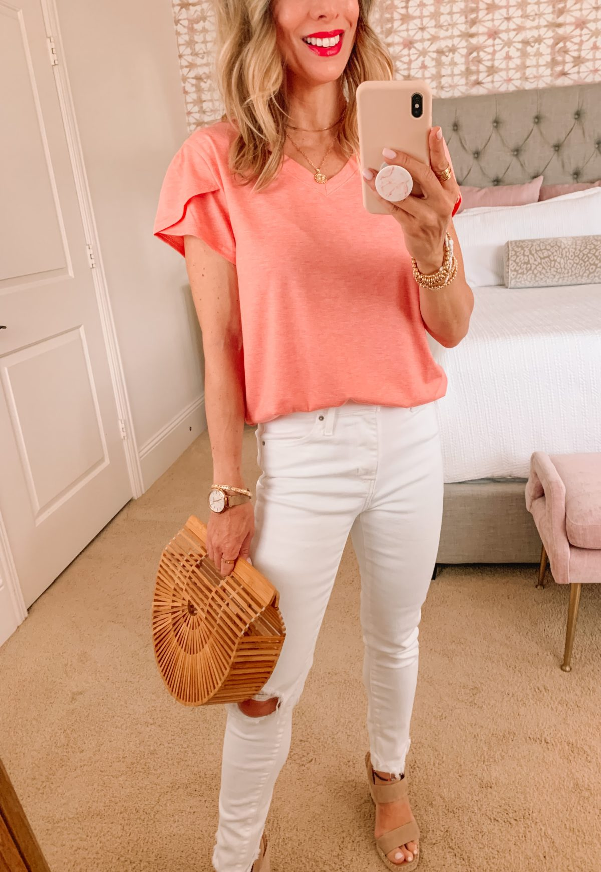 Amazon Fashion Faves, Petal Sleeve Tee, white jeans, Wedges, Clutch