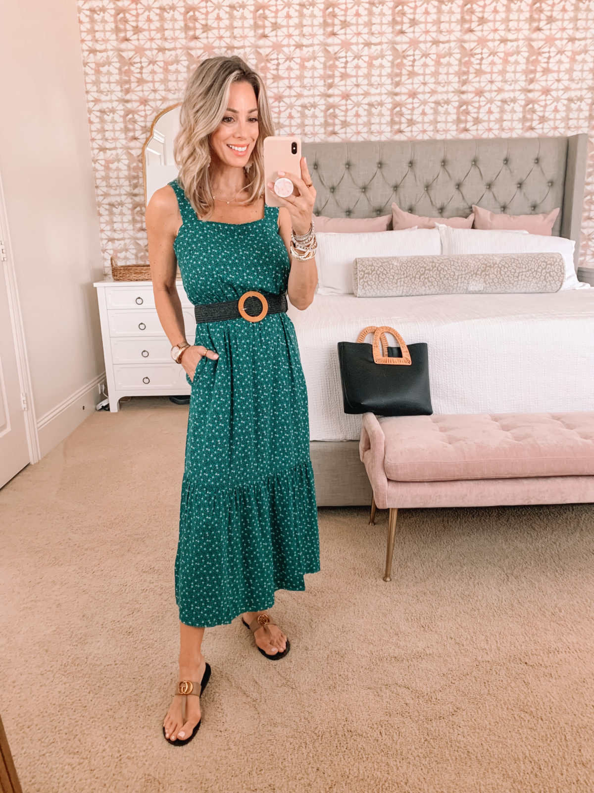 Amazon Fashion Faves, Green Maxi Dress, Sandals, Woven Belt, Tote