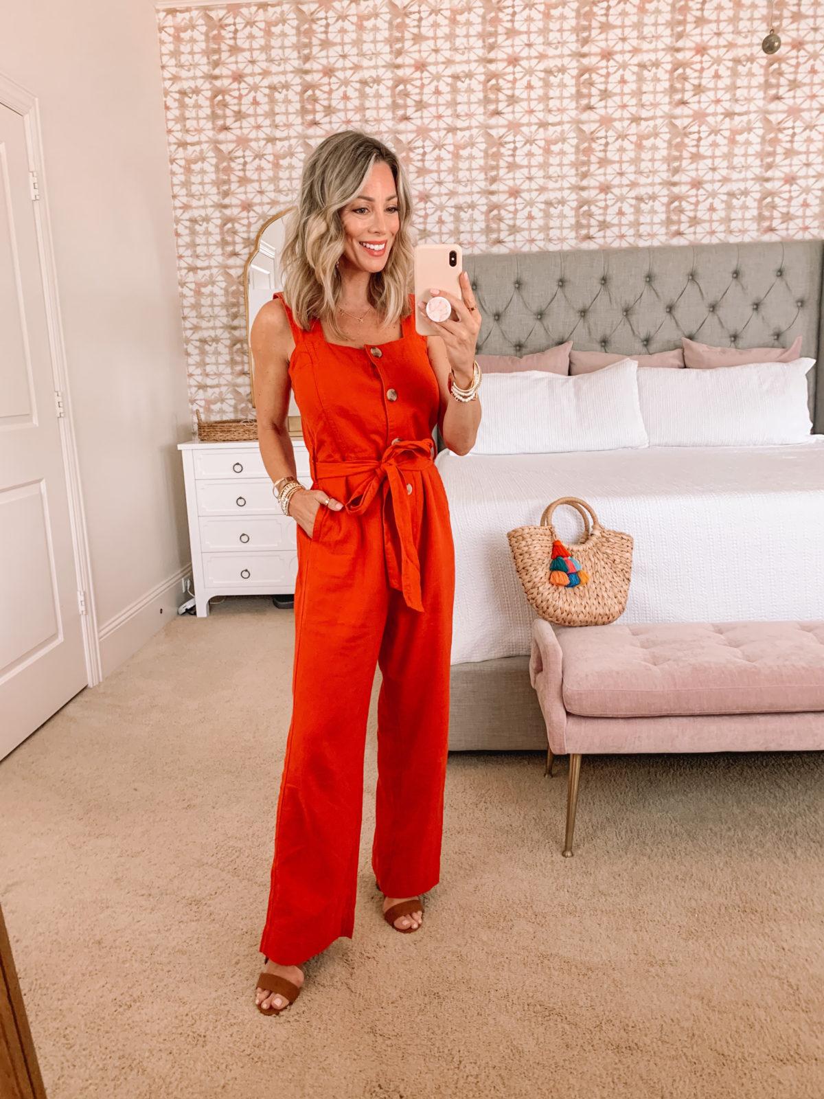 Dressing Room Finds, Orange Jumpsuit, Sandals