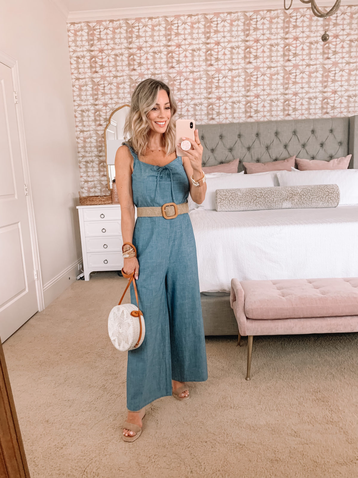 Dressing Room Finds, Chambray Jumpsuit, Woven Belt, Wedges, Crossbody