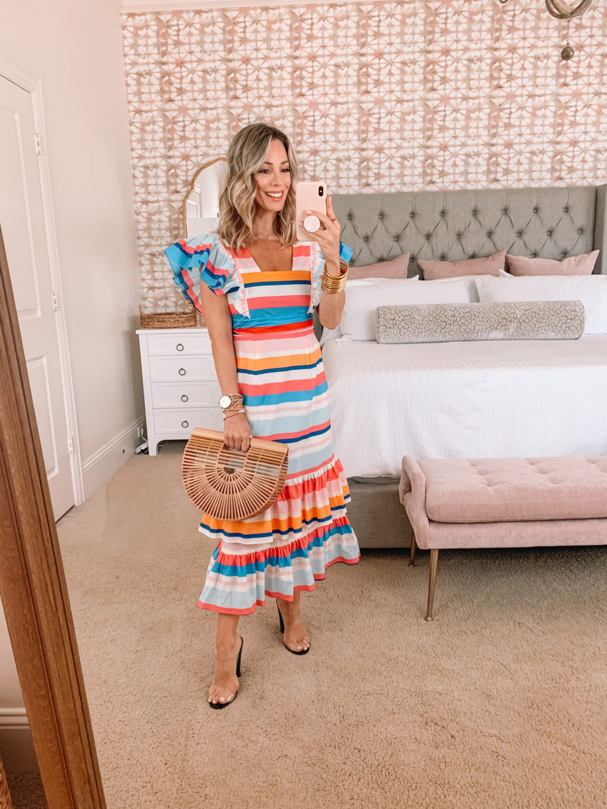 Dressing Room Finds, Striped Dress, Bamboo Clutch, Clear Sandals