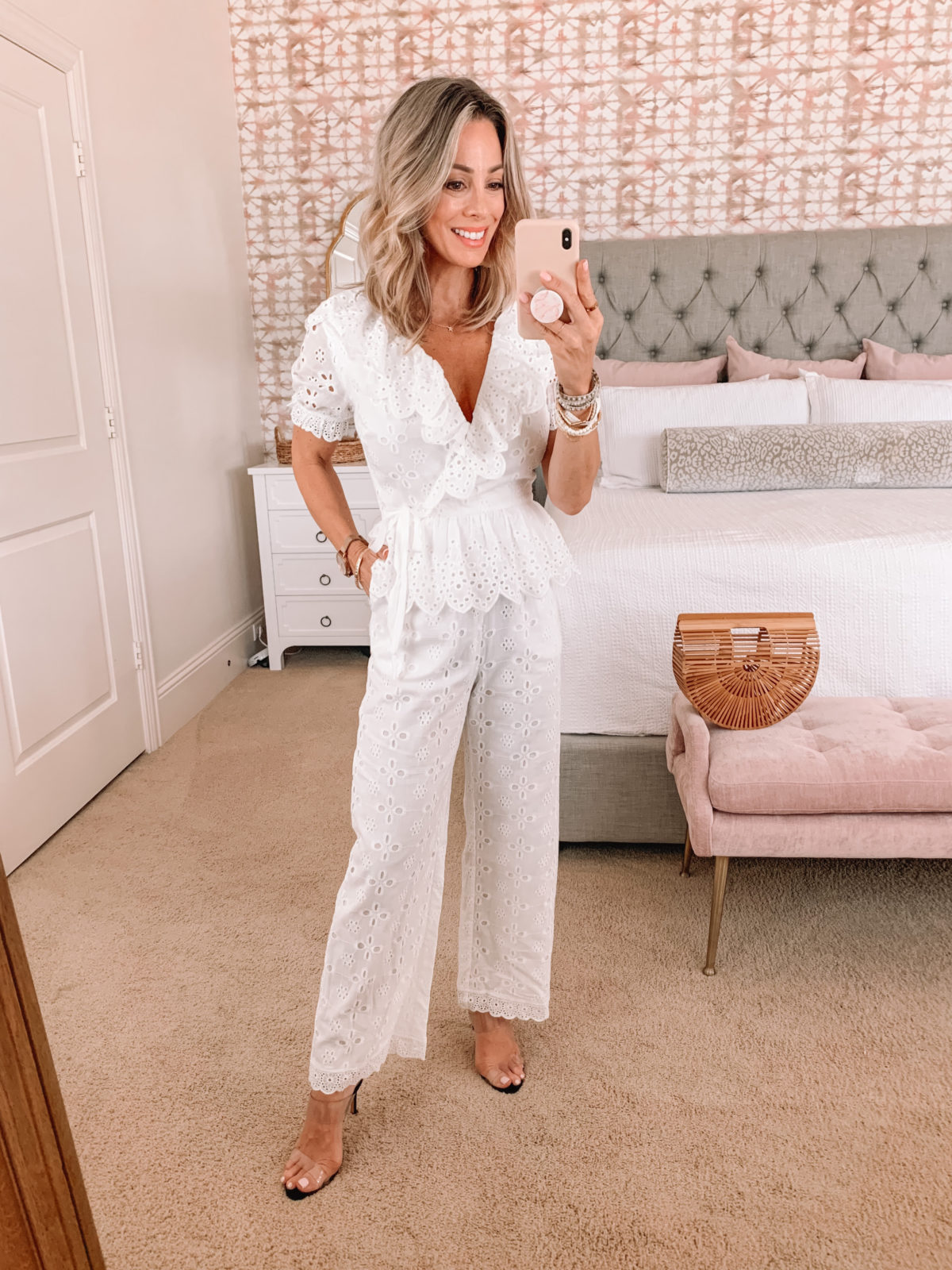 Dressing Room Finds, Eyelet Jumpsuit and Bamboo Clutch with Clear Sandals