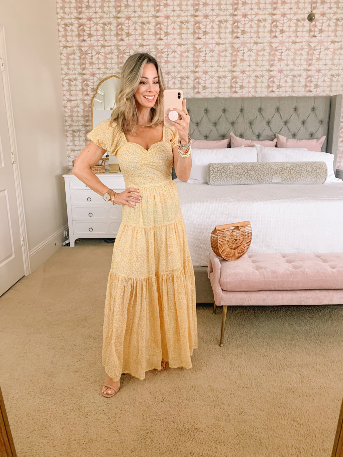 Dressing Room Finds, Yellow Sundress, Bamboo Clutch, Sandals