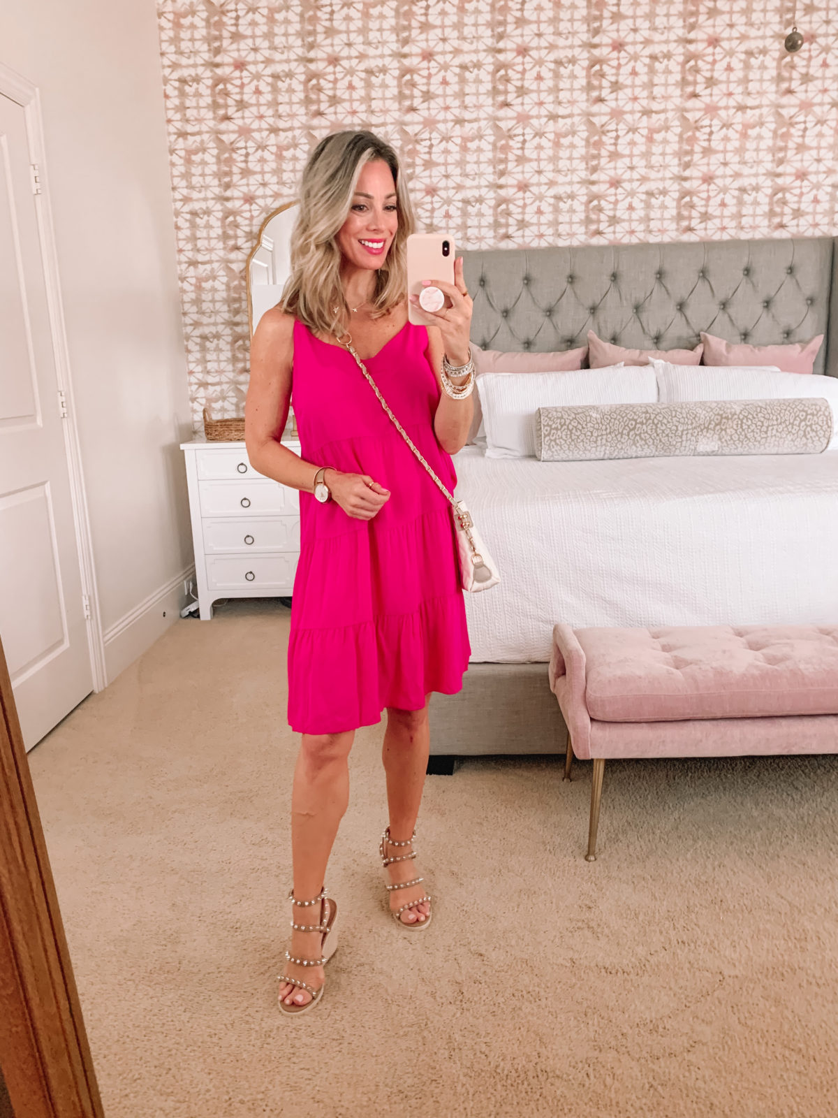 Amazon Fashion Faves, Pink Tiered Shift Dress, Studded Wedges, Crossbody