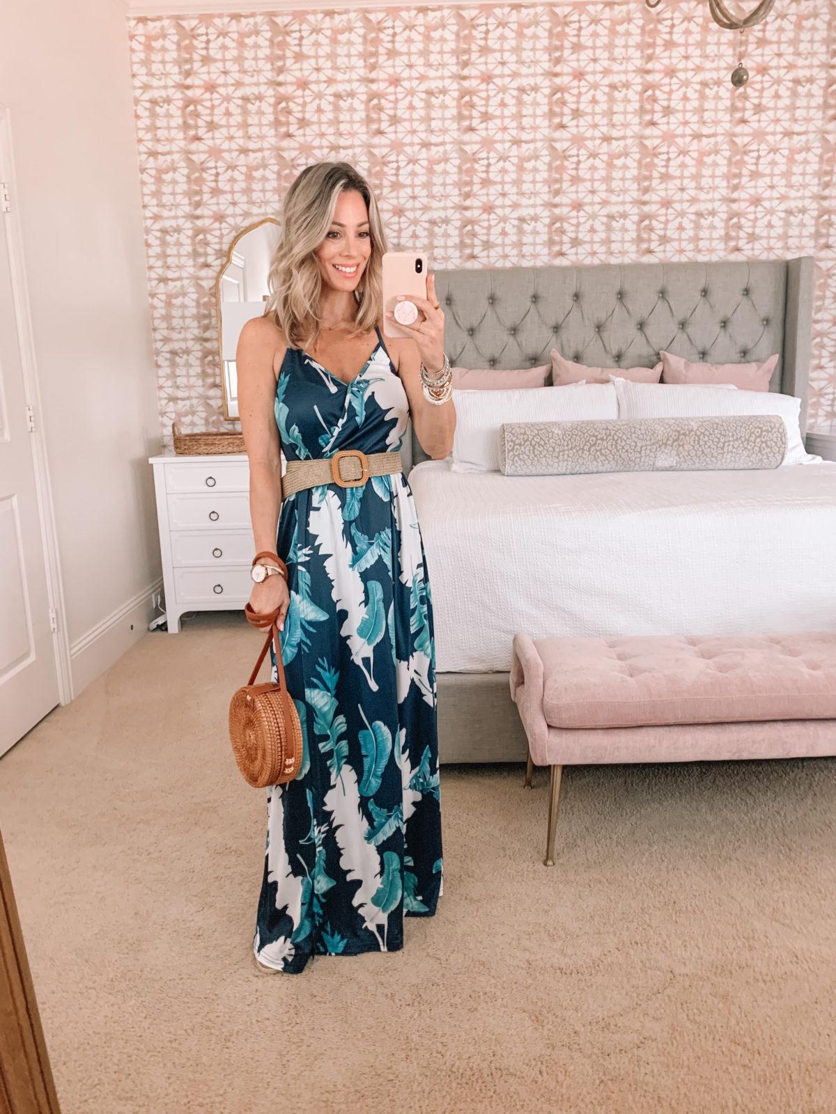 Amazon Fashion Faves, Floral Maxi Dress, Woven Belt, Crossbody