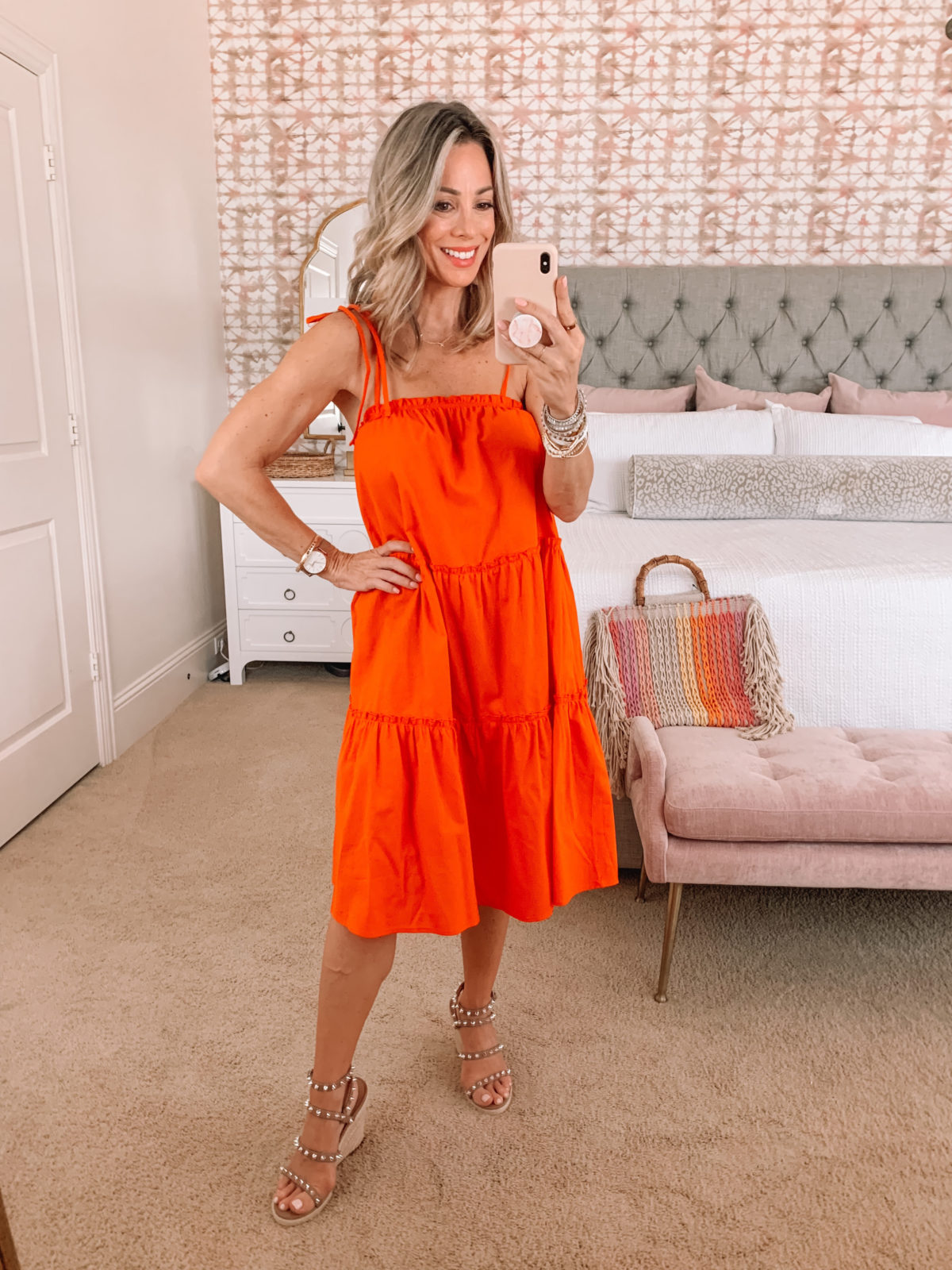 Amazon Fashion Faves, Spaghetti Strap Shift Dress and Wedges with Tote Bag