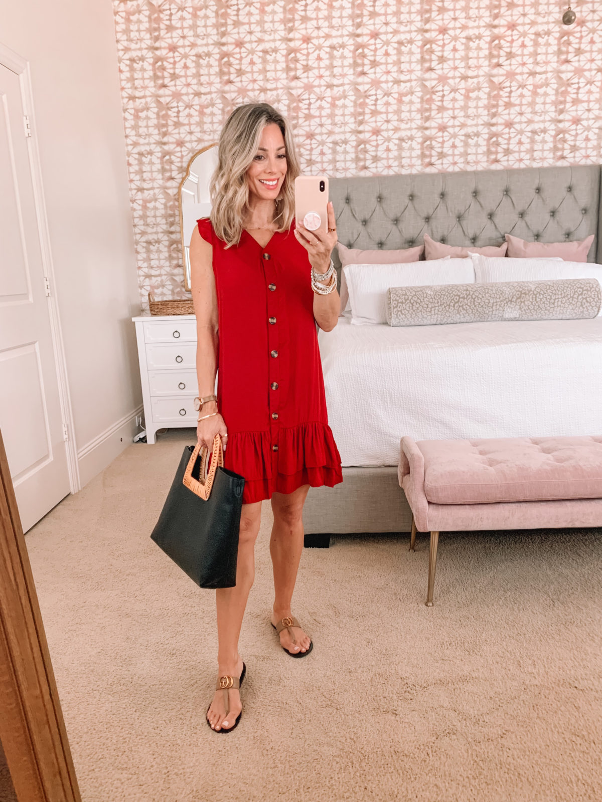 Amazon Fashion Faves, Red Sleeveless Button down Dress and Kell Parker Sandals with Tote