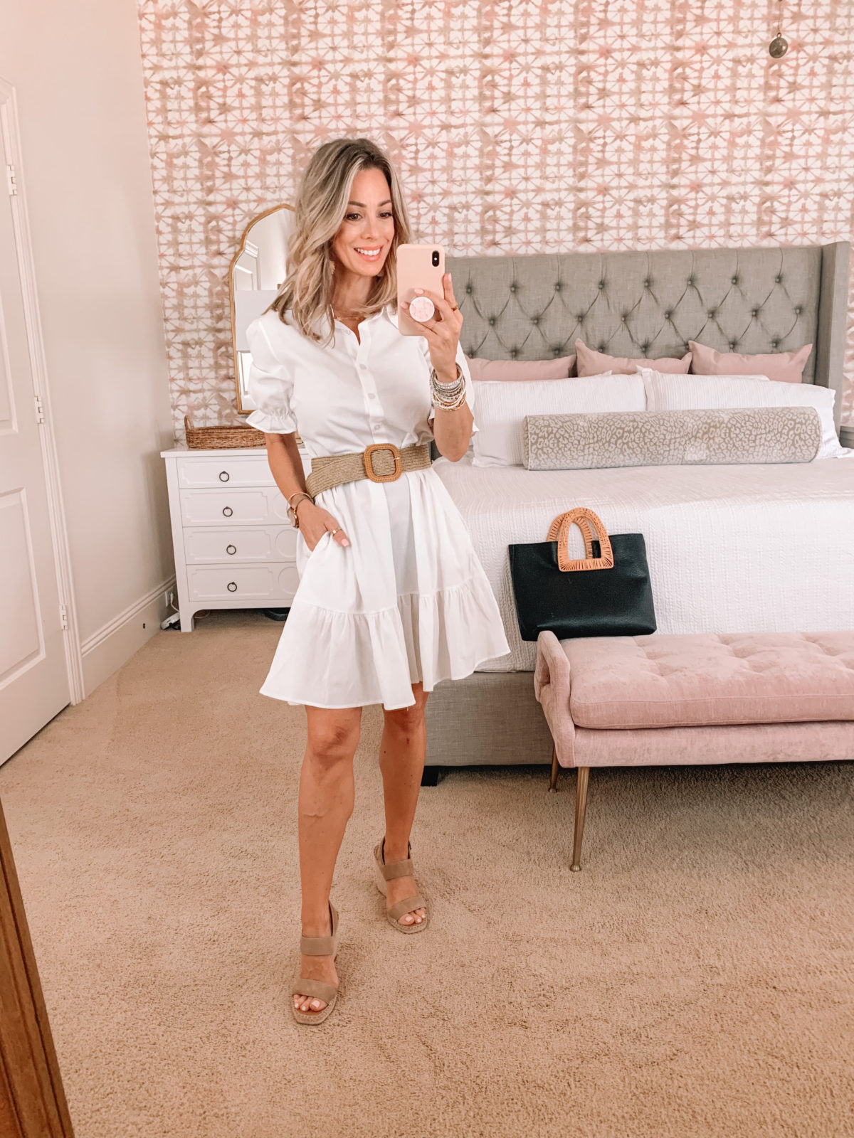 Amazon Fashion Faves, White Shirt Dress and Woven Belt with wedges and tote