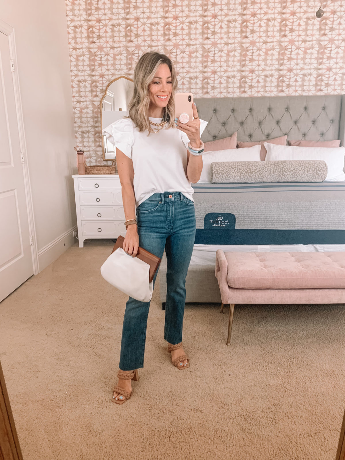 Dressing Room Finds, Express, Ruffle Sleeve Tee, Jeans, Sandals, clutch