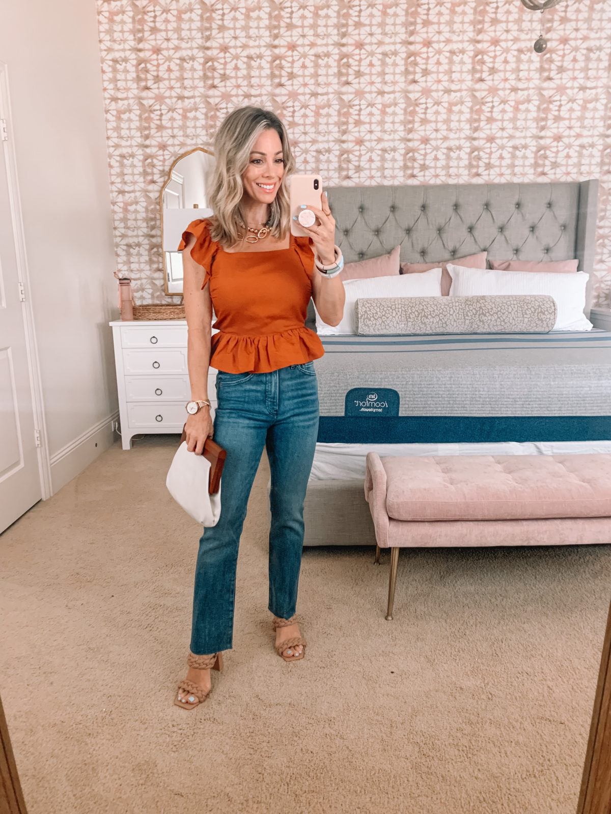 Dressing Room Finds, Express, Ruffle Sleeve Top, Jeans, Sandals, Clutch