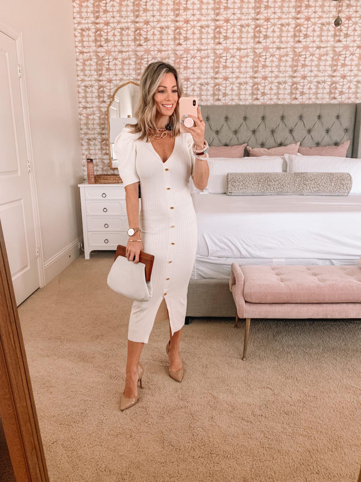 Dressing Room Finds, Body Con Dress, Clutch, Heels