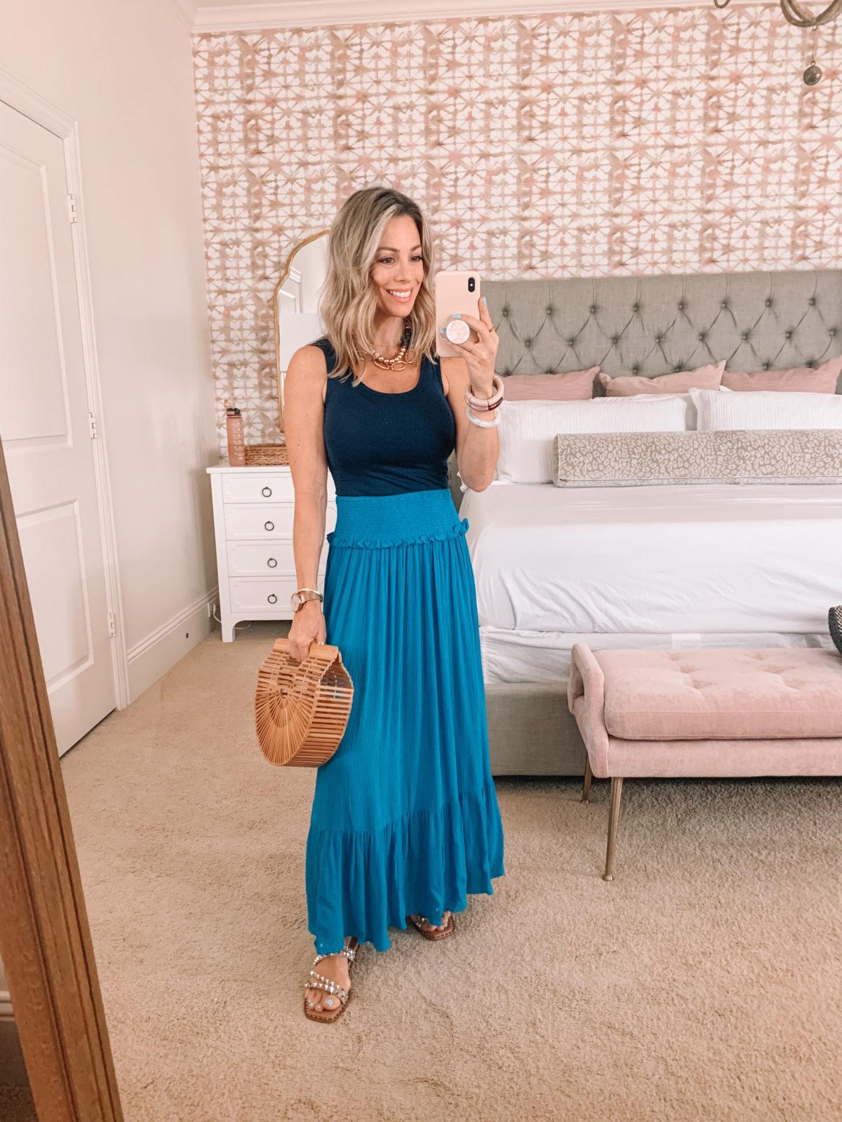 Dressing Room Finds Walmart, Bodysuit, maxi Skirt, Studded Sandals, Bamboo Clutch
