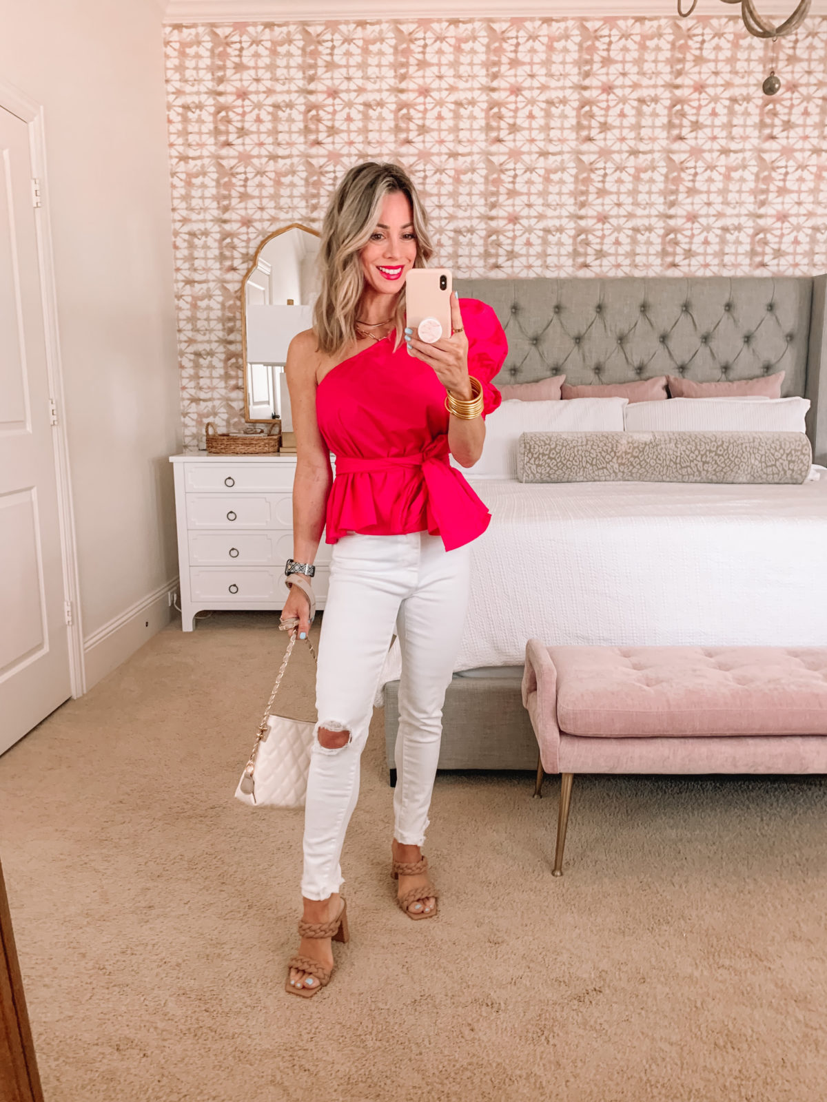 Amazon Fashion Faves. Pink One Puff Sleeve Wrap Top, White Jeans, Sandals, and Crossbody