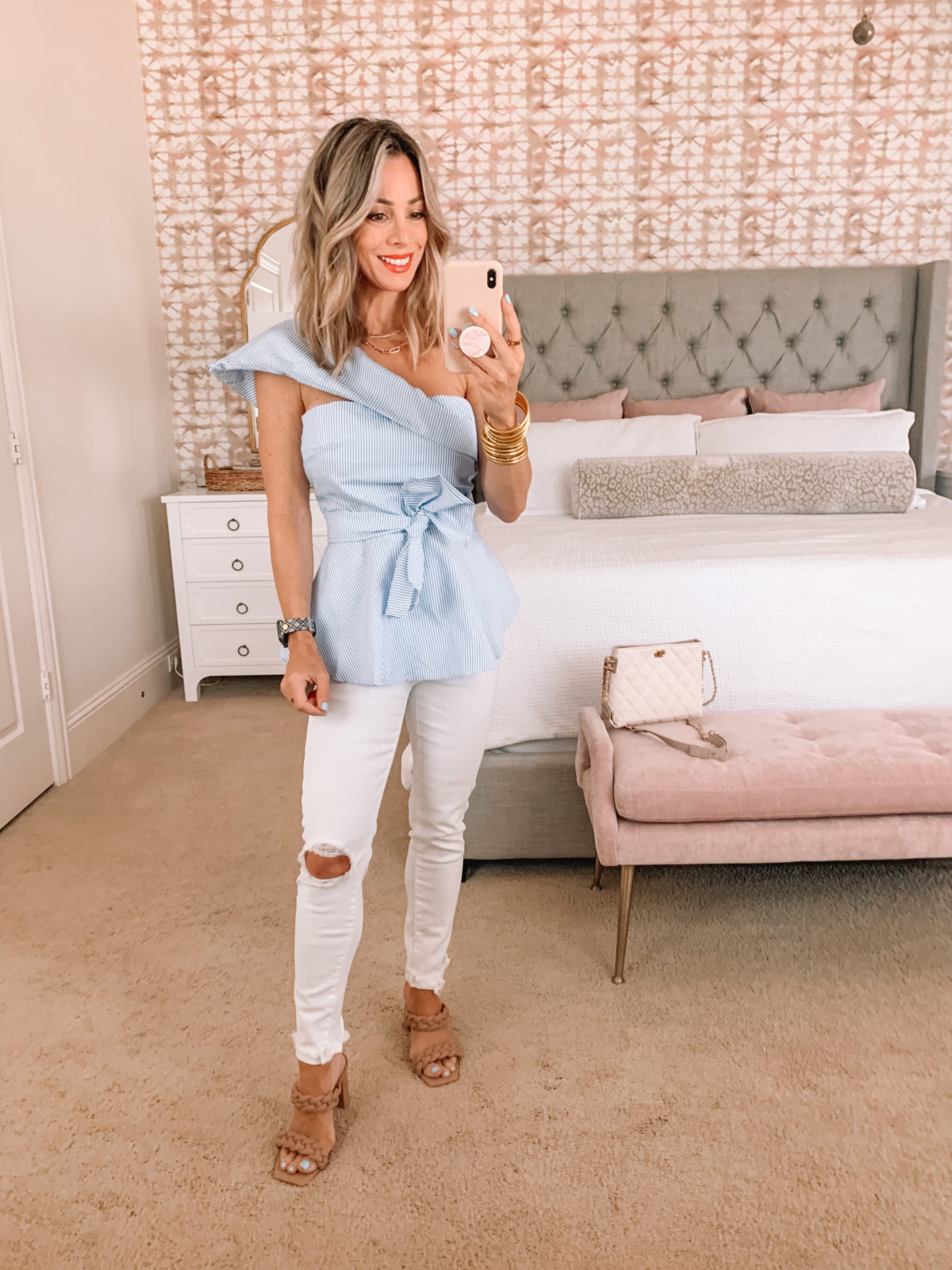 Amazon Fashion Faves, Striped One Shoulder Top with White Jeans and Sandals and Crossbody