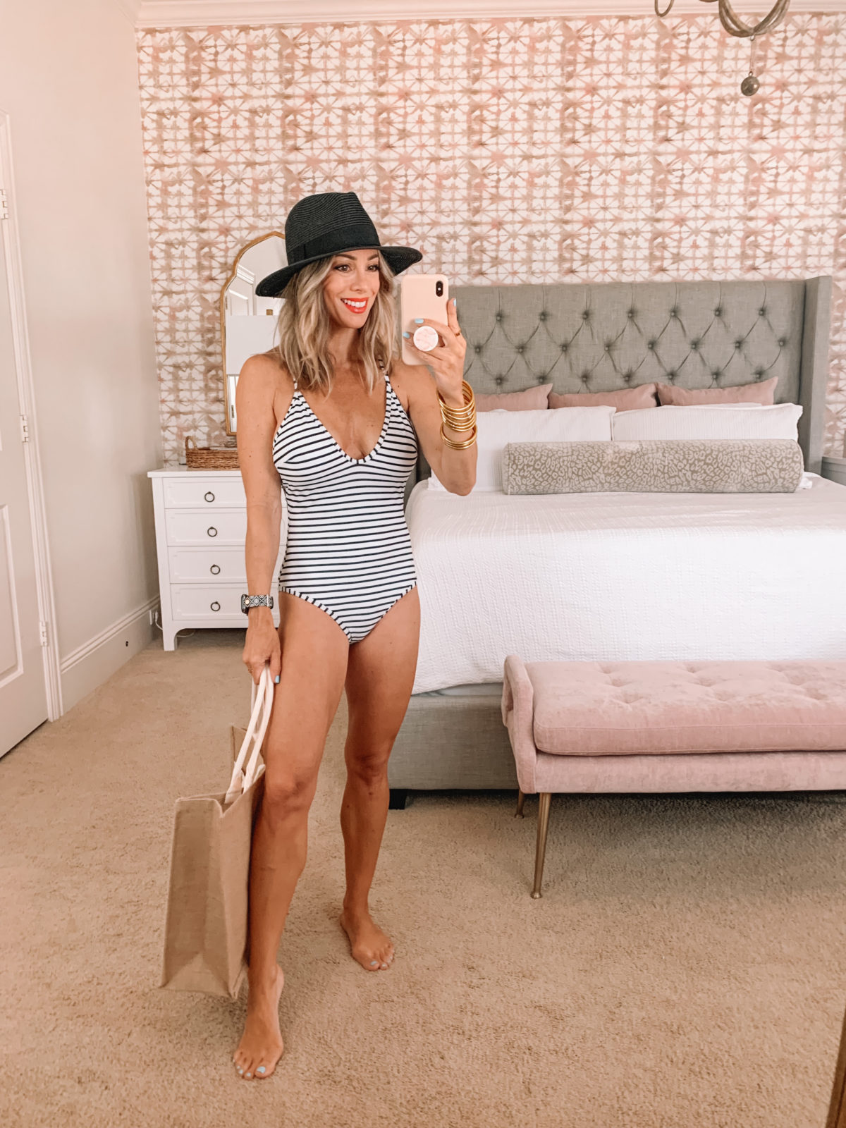 Amazon Fashion Faves, Striped one Piece Swimsuit, Black sun hat and weekend Tote