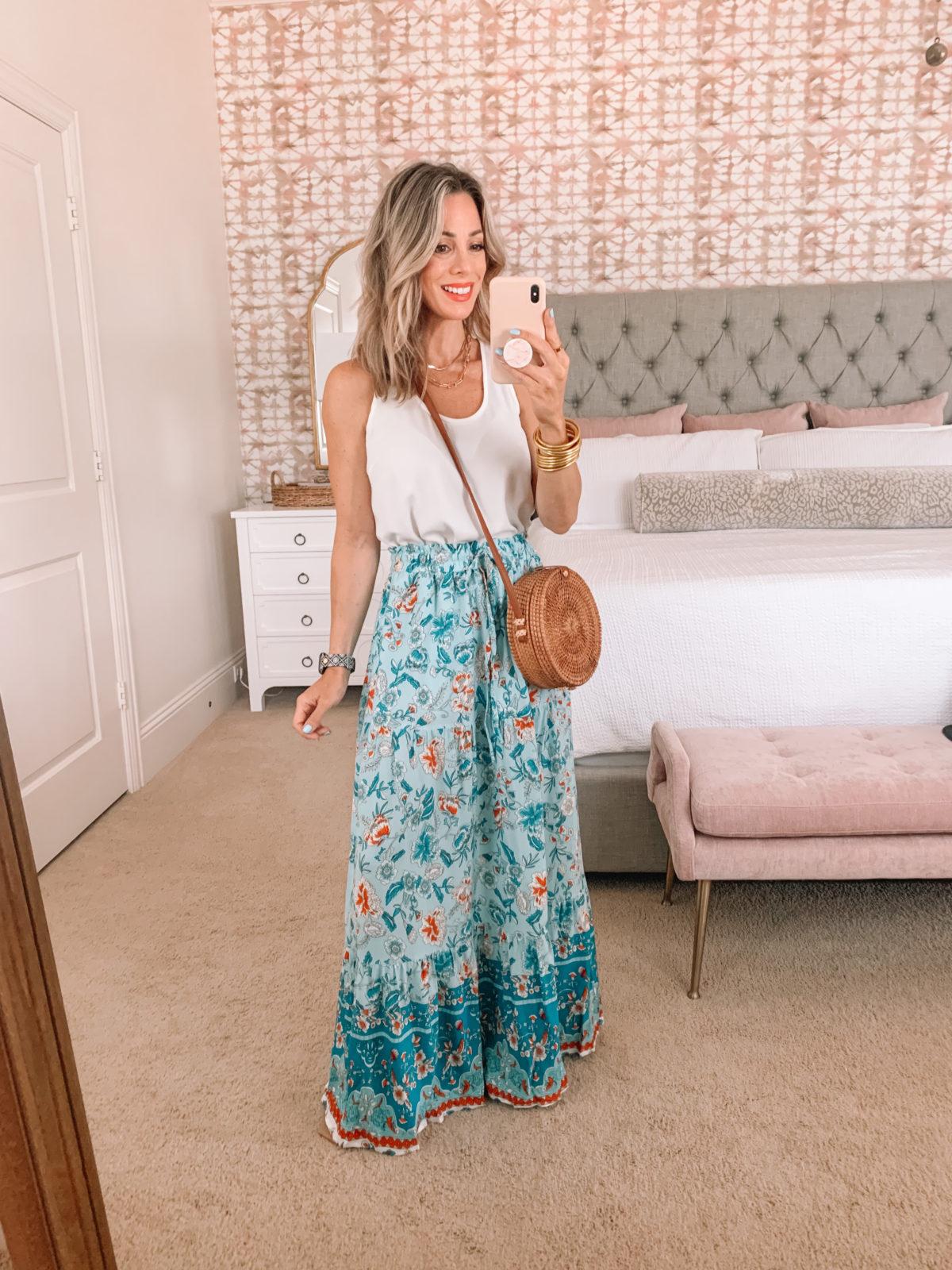 Amazon Fashion Faves, White Tank, Floral Maxi Skirt, Crossbody Bag