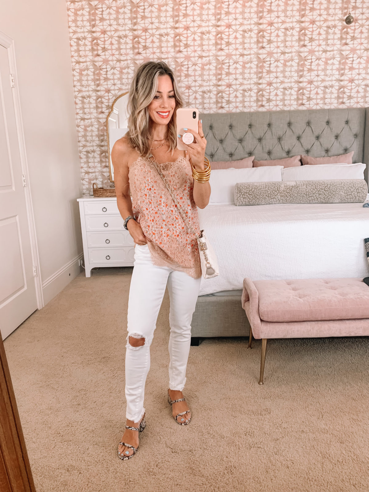 Amazon Fashion Faves, Cami and White Jeans with a White Crossbody and Snakeskin Sandals