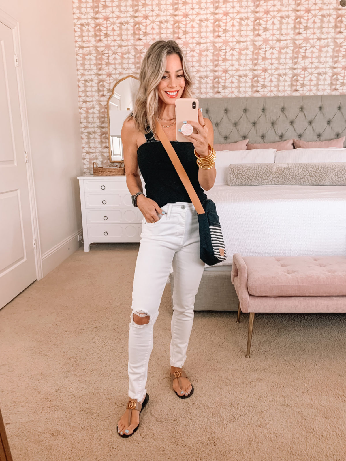 Amazon Fashion Faves, Black Ribbed Tank, White Jeans, Striped Crossbody and Kell Parker Sandals