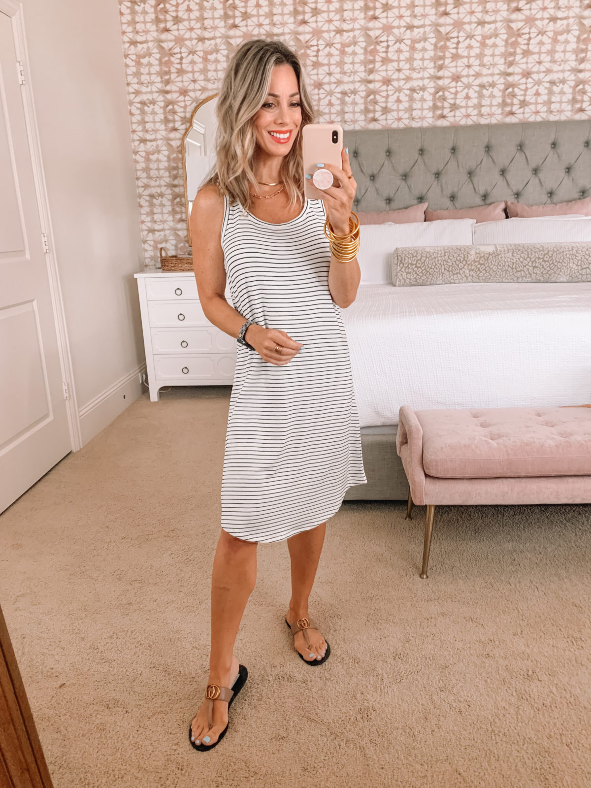 Amazon Fashion Faves, Stipe Tee Shirt Dress and Sandals