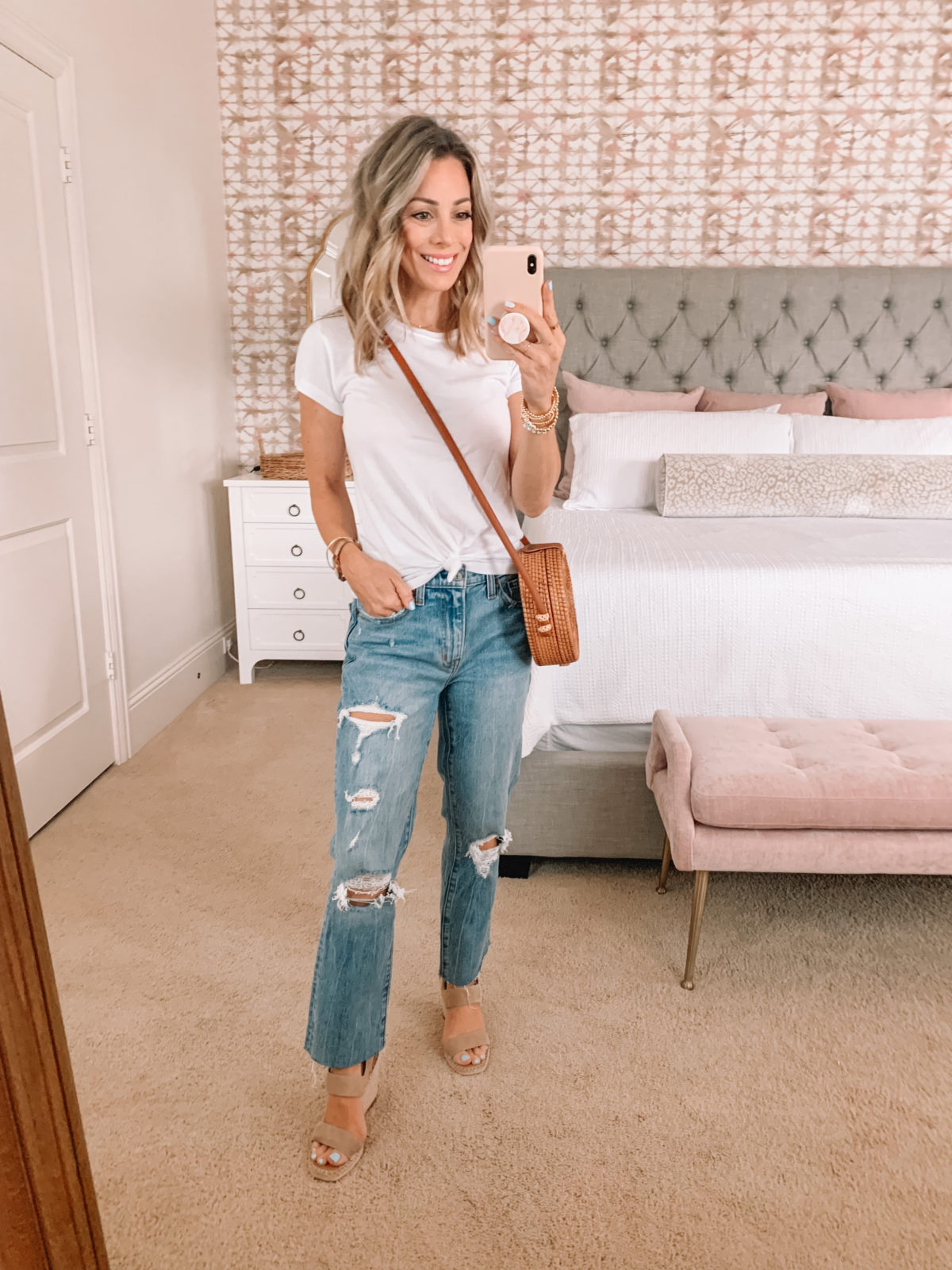 Dressing Room Finds, Knot front tee and jeans with Crossbody and wedges