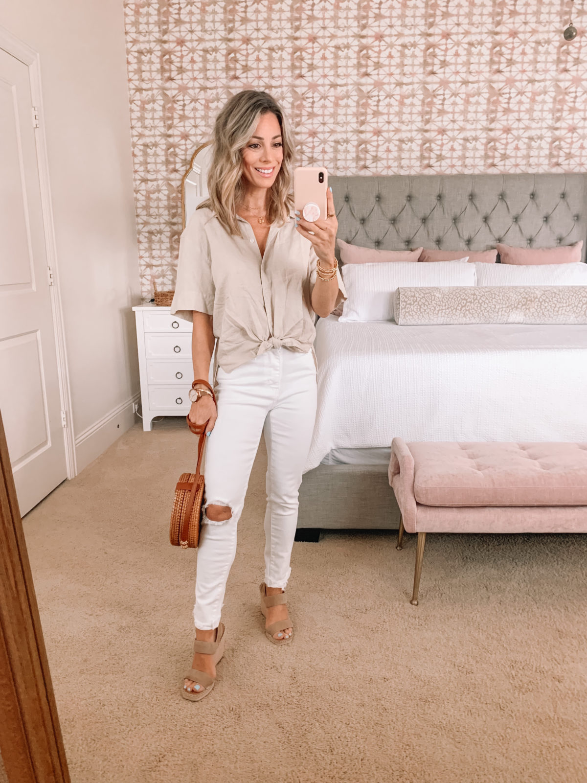 Dressing Room Finds, Knot front top and white jeans with Crossbody and wedges