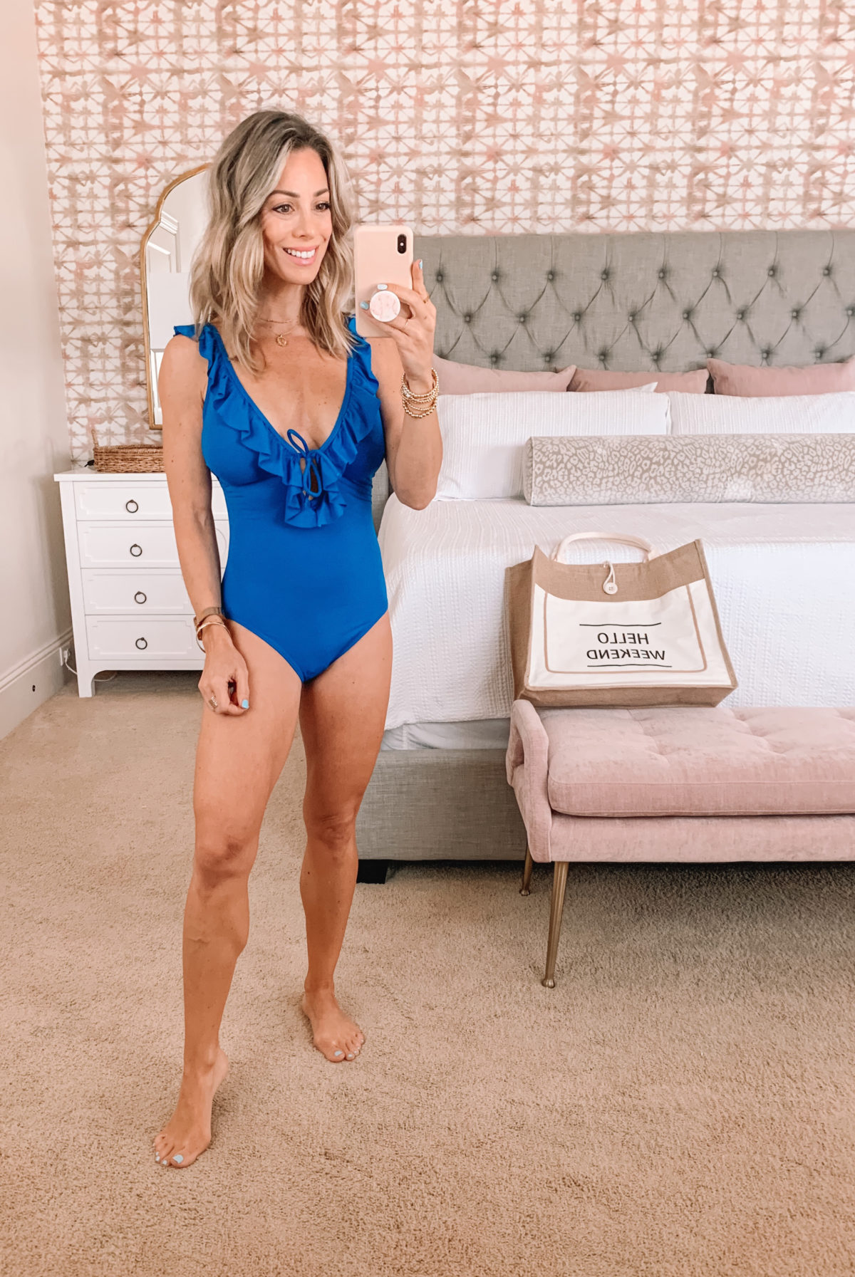 Dressing Room Finds, LOFT Swimsuit Ruffle Neck and weekend tote