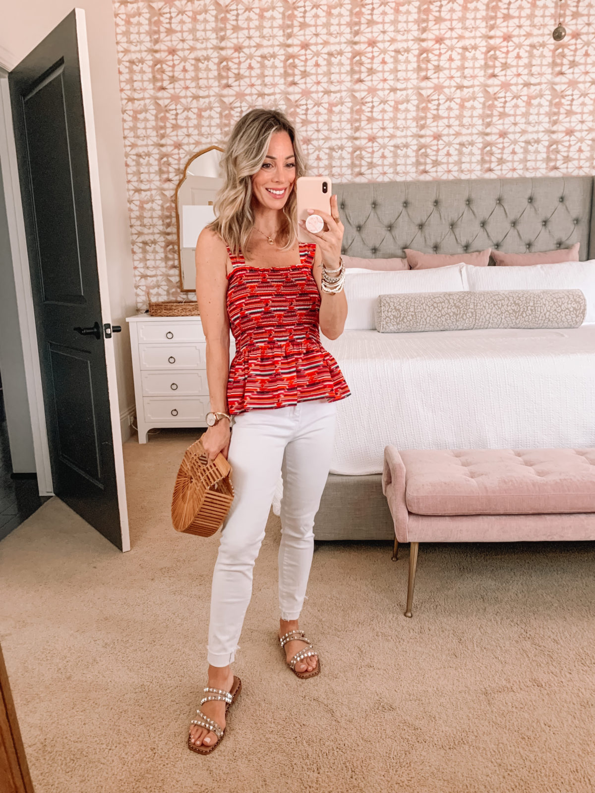 Dressing Room Finds, Peplum Top and White Jeans with Studded Sandals