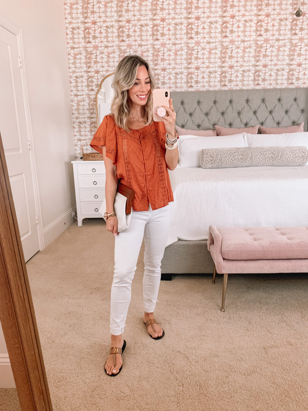 Dressing Room Finds, Rust colored Top and White Jeans with Sandals and Clutch