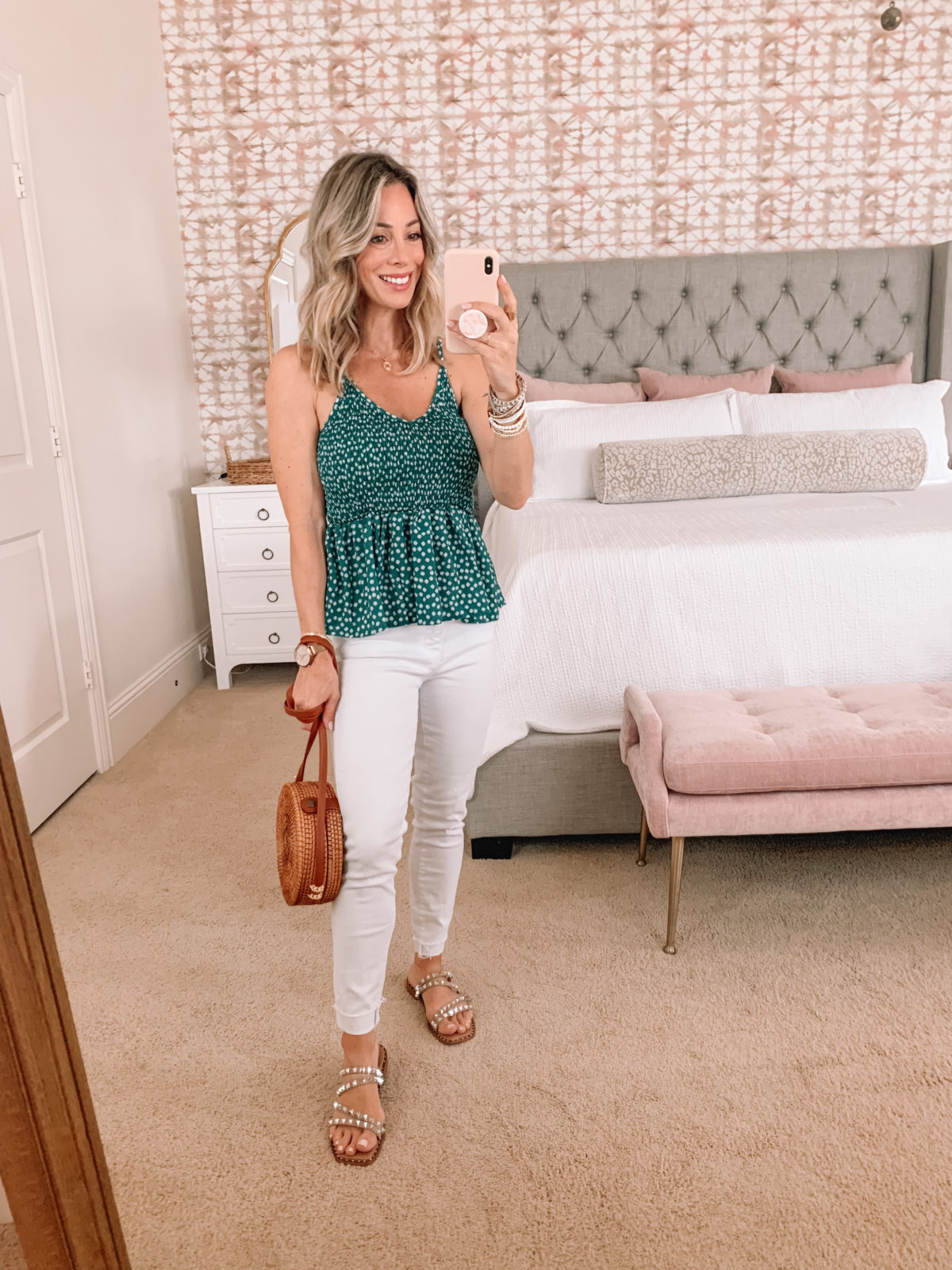 Dressing Room finds, Floral Peplum Top and White Jeans with Circle Crossbody