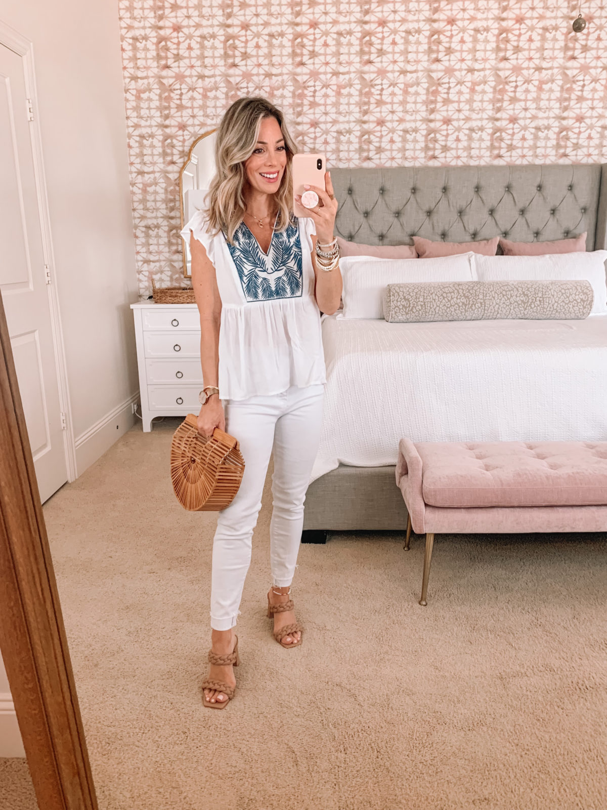 Dressing Room Finds, Gibson Top and white jeans with Sandals