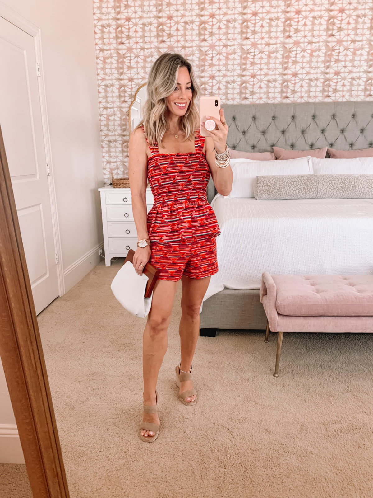 Dressing Room Finds LOFT, Ikat Peplum Top and Shorts with Wedges and Clutch