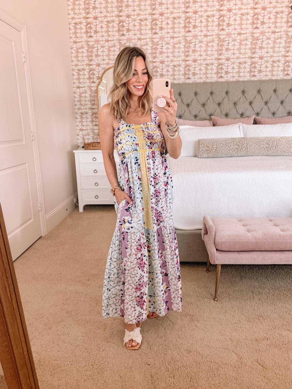 Dressing Room Finds, Floral Smocked Maxi Dress