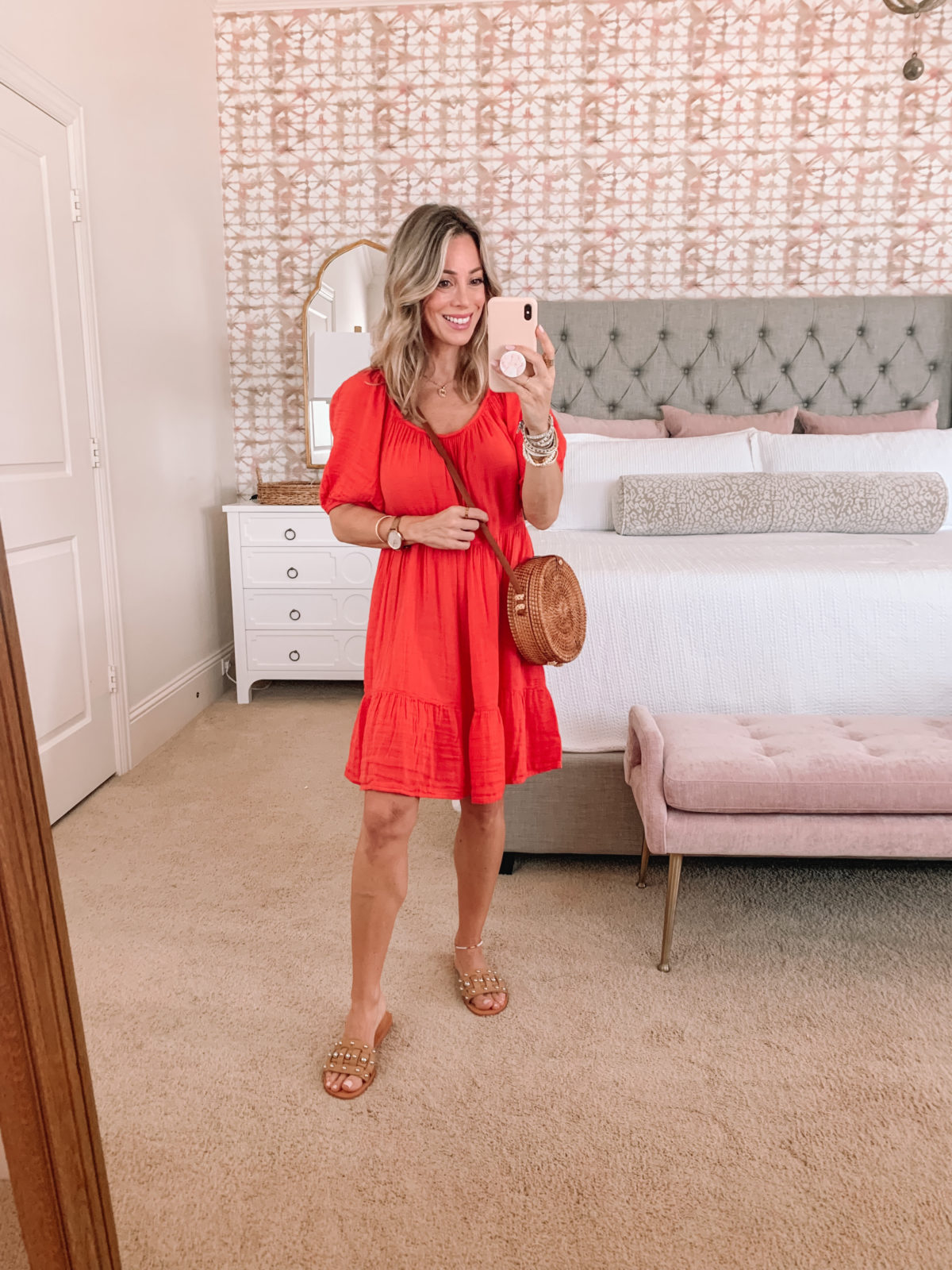 Dressing Room Finds, Boho Midi Dress and Crossbody with Studded Sandals