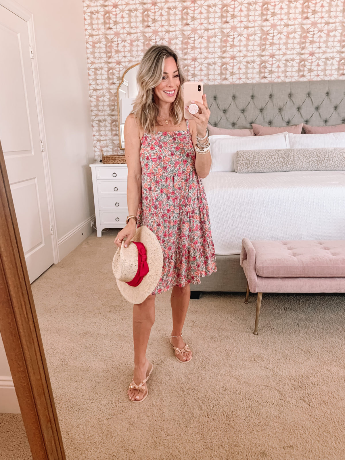Floral Dress and Bow Sandals with Sun Hat