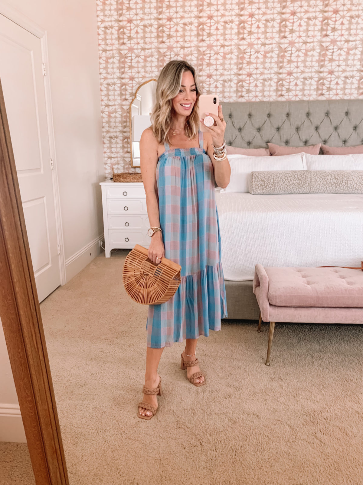 Dressing Room Finds, Gingham Dress and Sandals with Bamboo Clutch