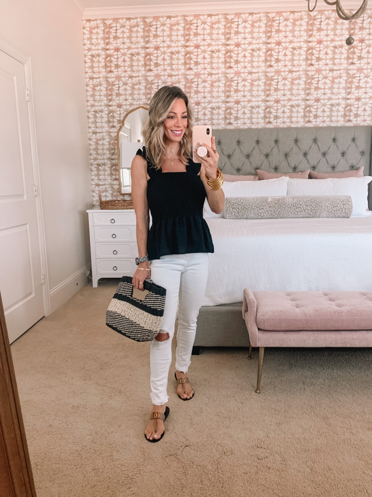 Amazon Fashion Faves, Tank and White Jeans and Sandals with Woven Clutch