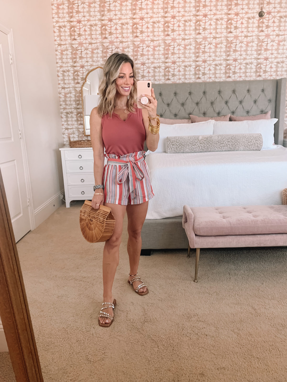 Amazon Fashion Faves, Tank, Striped Shorts Studded Sandals and Bamboo Clutch