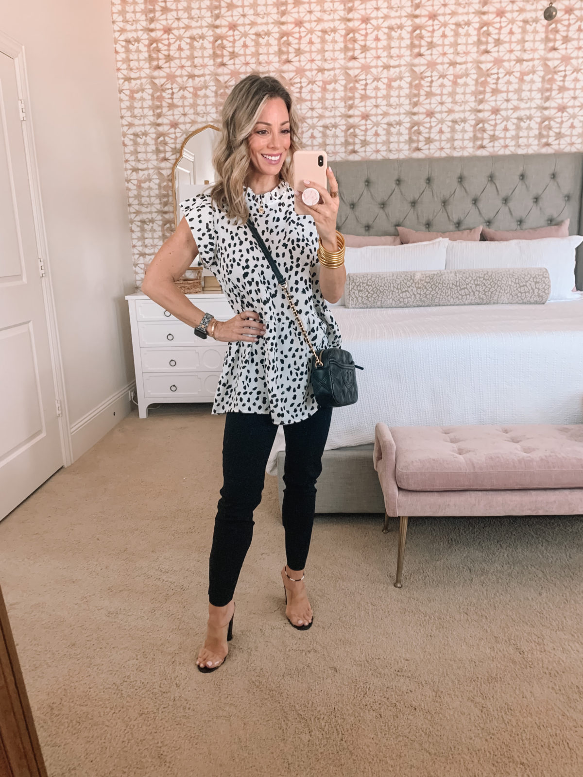 Amazon Fashion Faves, Leopard Dot Tunic Top and Pants, Clear Sandals and Crossbody