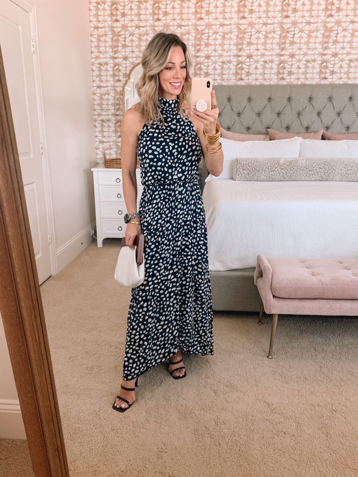 Amazon Fashion Faves, leopard dot Maxi Dress and Sandals with Clutch