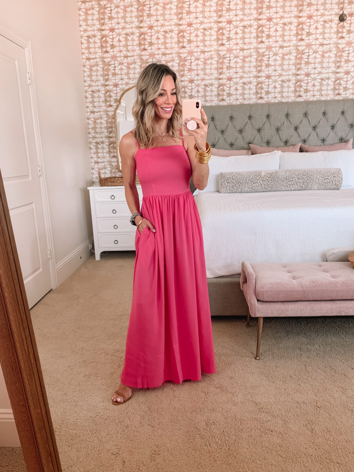 Amazon Fashion Faves, Pink Maxi Dress with Sandals
