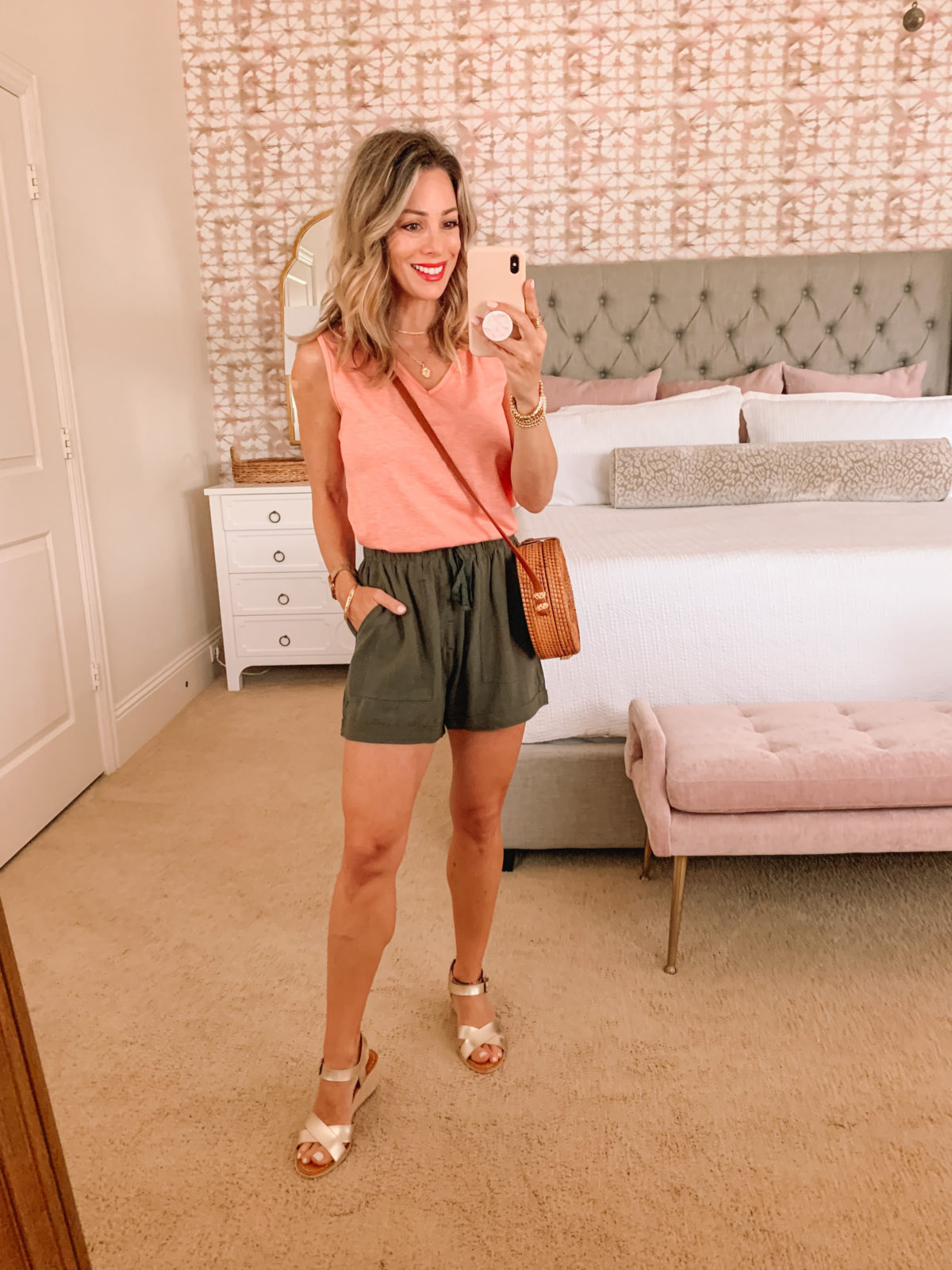 Amazon Fashion Faves, Coral Tank and Green Shorts, Crossbody and wedge Sandals