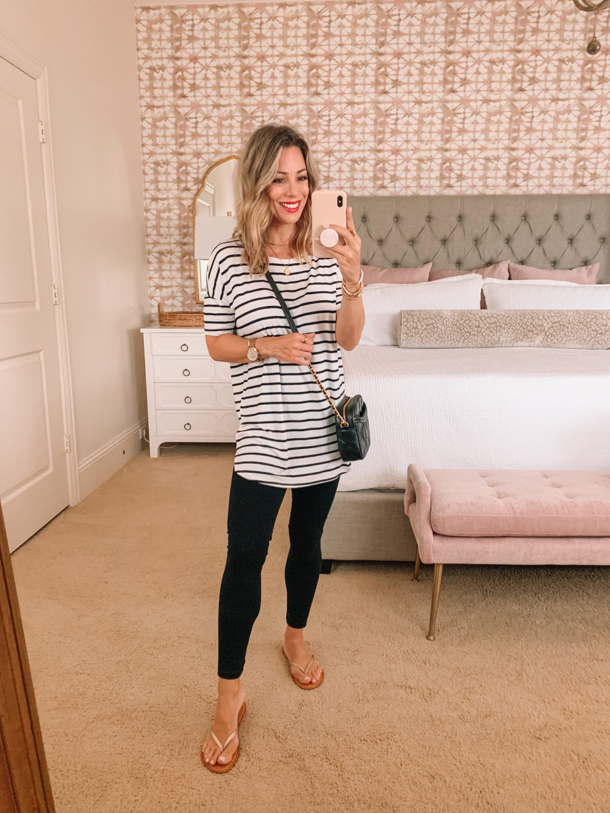 Amazon Fashion Faves, Stripe Tunic Top and Leggings and Flip Flops and crossbody