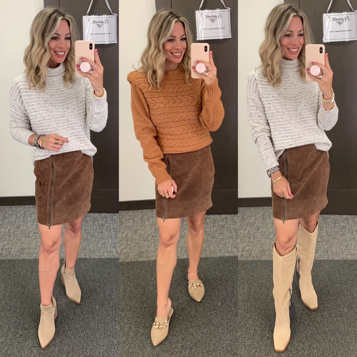Nordstrom Anniversary Sale, Sweater, Suede Skirt, Booties, Cable knit Sweater, Chain Slides, Knee High Boots