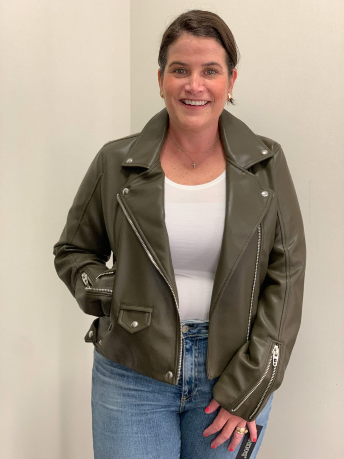 Nordstrom Anniversary Sale, faux leather jacket, jeans